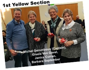 Yellow Section Winners -- Michel Geromboux (Captain),  Gisela Von Gavel,  Janice Curran,  Barbara September